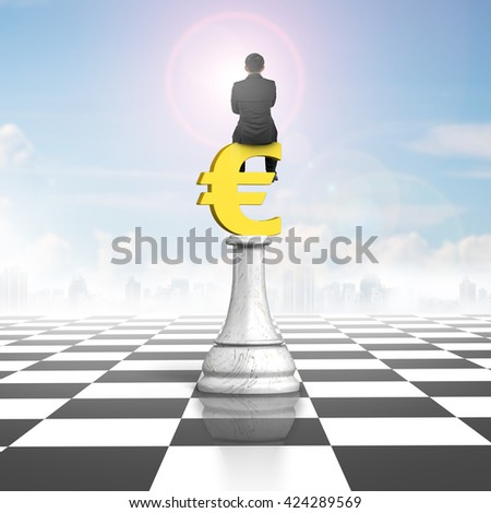 Man sitting on euro symbol of money chess on chessboard, with sun sky clouds background.