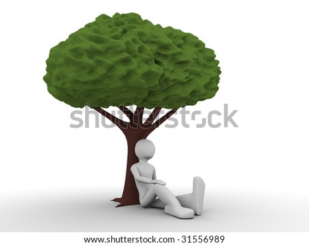 man sitting under the tree and thinking about ecological situation - stock photo