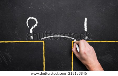 man sketching a bridge over the gap between problem and solution - stock photo