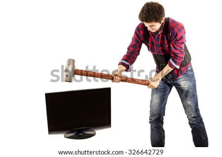 man sledgehammer tv - stock photo