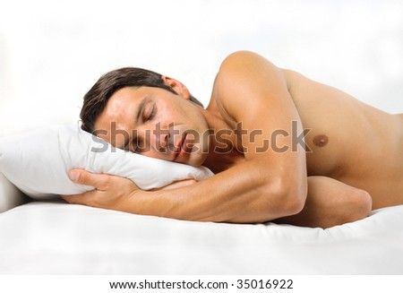 man sleeping - stock photo