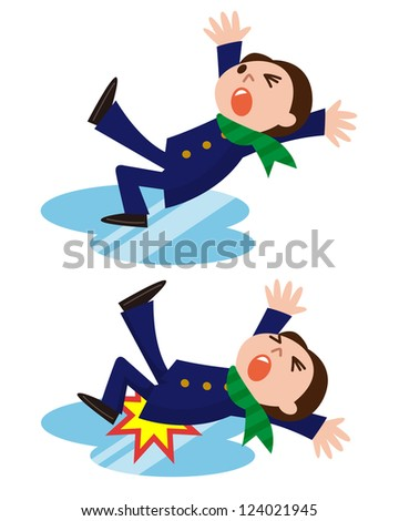 man slips and falls down on snowy road - stock photo