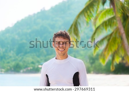 Man smile tropical island beach wear sport sun protective clothes