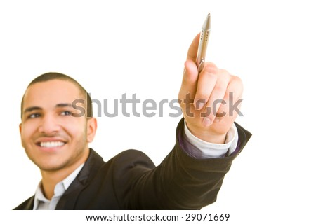 Man smiling and holding a pen - stock photo