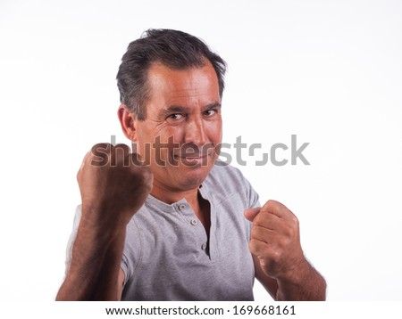 man smiling infighting position - stock photo