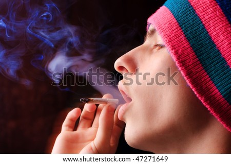 Man smoking - stock photo