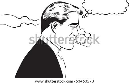 Man smoking pipe - stock photo
