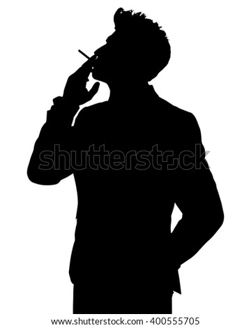 Man smoking silhouette - stock photo