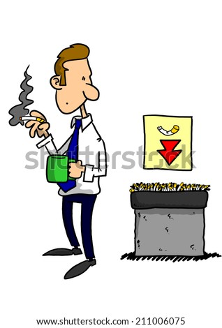 Man smoking with nearby disposal and sign - stock photo