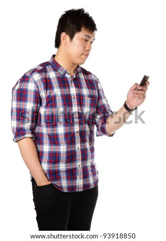 man sms on cell phone