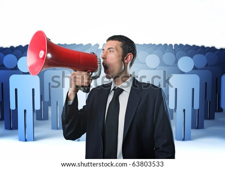 man speak with megaphone with business virtual people background - stock photo