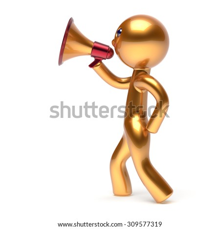 Man speaking bullhorn megaphone character making announcement news golden stylized human cartoon guy speaker person communication people yellow speaker figure icon concept 3d render isolated - stock photo