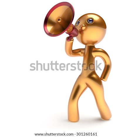 Man speaking megaphone character making announcement news golden stylized human cartoon guy speaker person communication people yellow speaker figure icon concept 3d render isolated - stock photo
