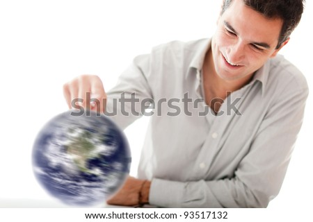 Man spinning the world with his hand - isolated over a white background - stock photo