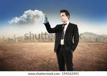 man spray clouds