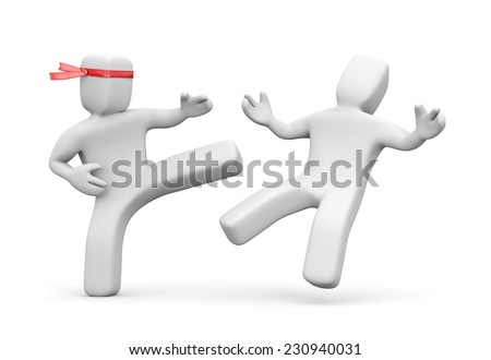 Man stabs another man - stock photo