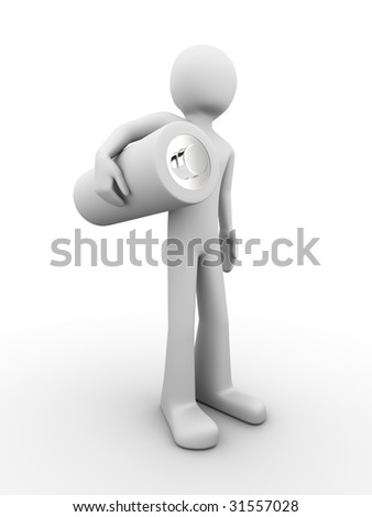 man standing and holding battery - stock photo