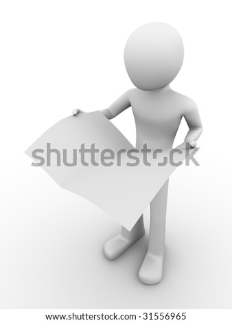 man standing and holding newspaper in hands, newspaper can be used as a copyspace - stock photo