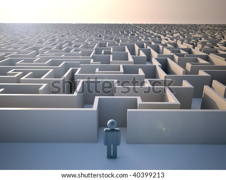 Man standing at the entrance of a huge maze - 3d render