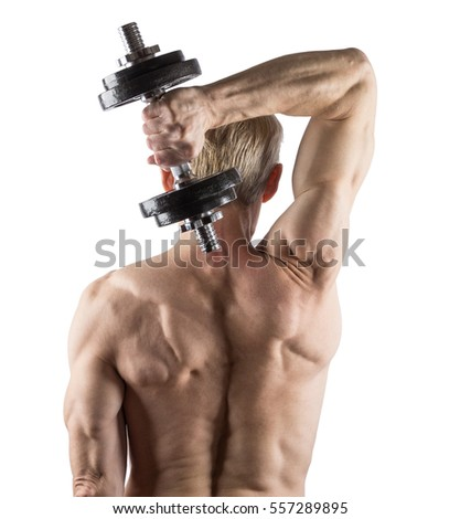 Man standing back doing exercise with dumbbell for triceps isolated on white background