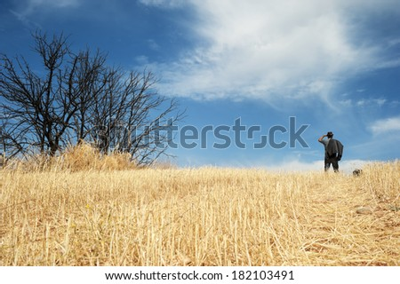 Man standing in a field observing the horizon  - stock photo
