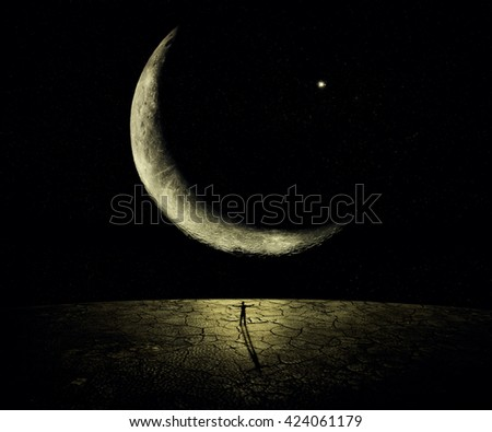 Man standing in front of a giant new moon with hands wide opened. Courage, freedom, power concept - stock photo