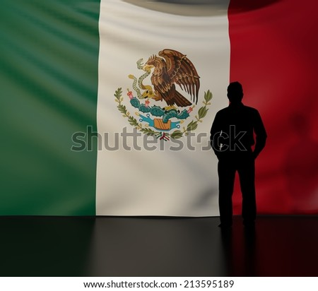 Man standing in front of flag of mexico; stage presentations