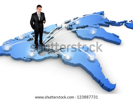 Man standing on a 3d world map, connection concept