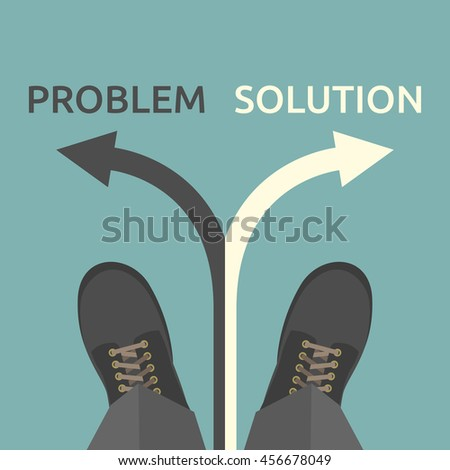 Man standing on arrow and choosing between problem and solution. Choice, challenge, business, success and strategy concept - stock photo