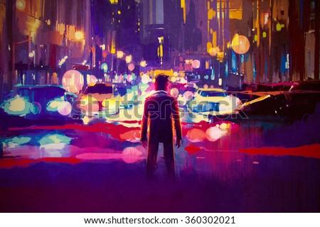 man standing on illuminated street at night,illustration painting - stock photo