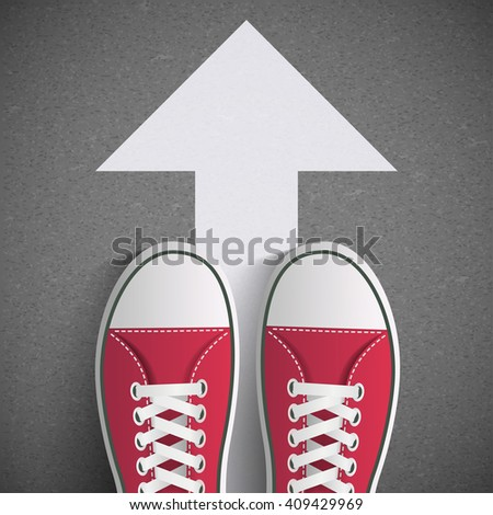 Man standing on the road with arrow. Direction of movement. Road markings. Stock illustration - stock photo