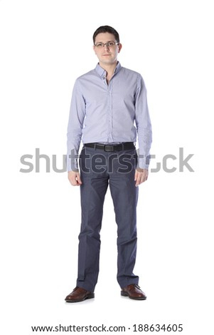 man standing on white background - stock photo