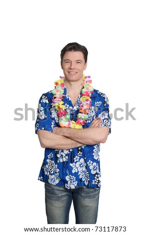 Man standing on white background with hawaiian shirt - stock photo