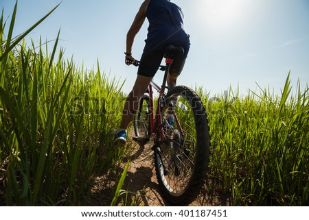 Man standing with a bicycle on the path with green grass - stock photo