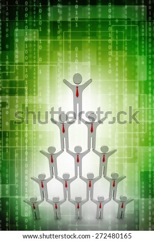 man standing with arms wide open up on top of pyramid over white wall , Leadership concept - stock photo