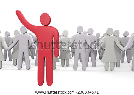 Man stands before crowd of people. Concept of leadership - stock photo