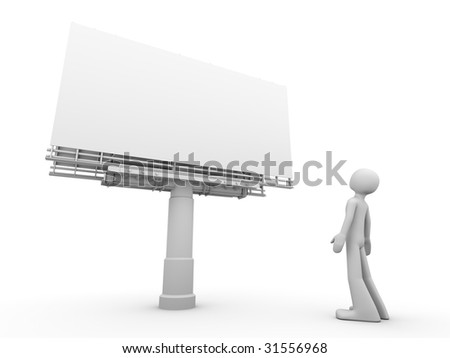 man stands near copyspaced bigboard looking at it - stock photo