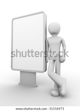 man stands near copyspaced lightbox (citylight) looking at it - stock photo