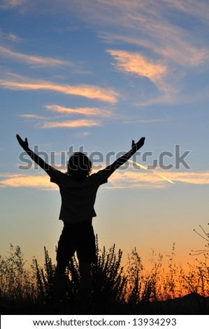 Man stands triumphant at sunset among the silhouettes of tall grasses. - stock photo