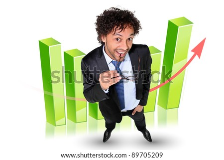 Man stood by 3D graph - stock photo