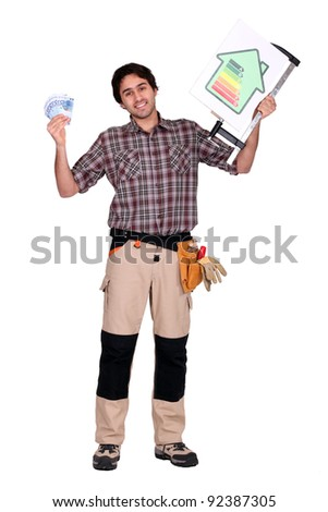 Man stood with energy rating advice - stock photo