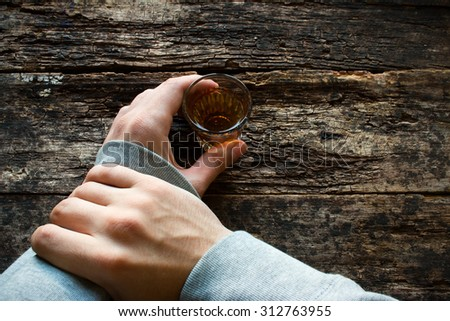 man stop myself not to drink alcohol - stock photo