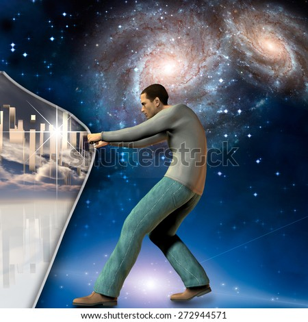 Man stretches space time to show power beneath Elements of this image furnished by NASA - stock photo