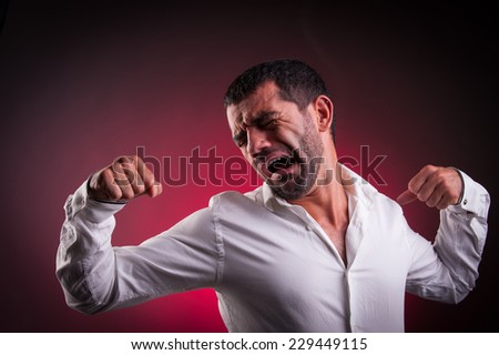 man stretching or being lazy - stock photo