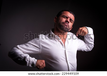 man stretching or resting - stock photo