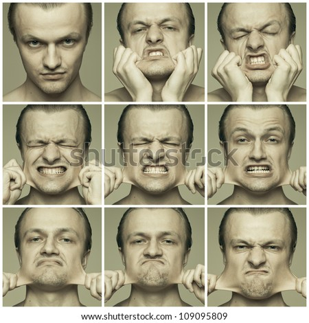 man stretching out his cheeks compilation - stock photo