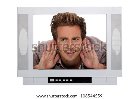 Man stuck in a television screen and struggling to hear