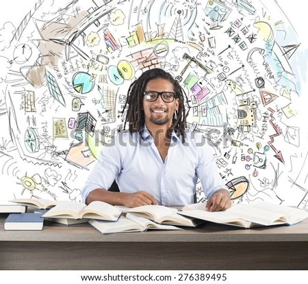 Man studies books to find business innovative ideas - stock photo