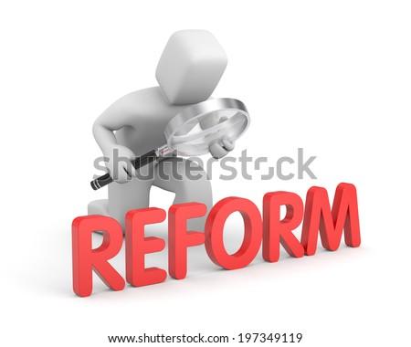 Man studies reform - stock photo