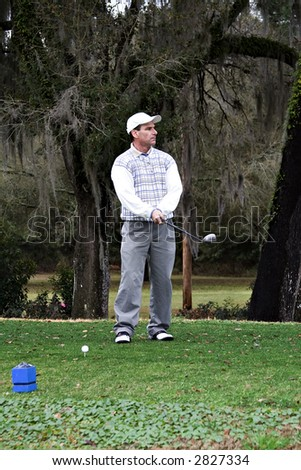 Man studying his golf drive from the tee box. - stock photo